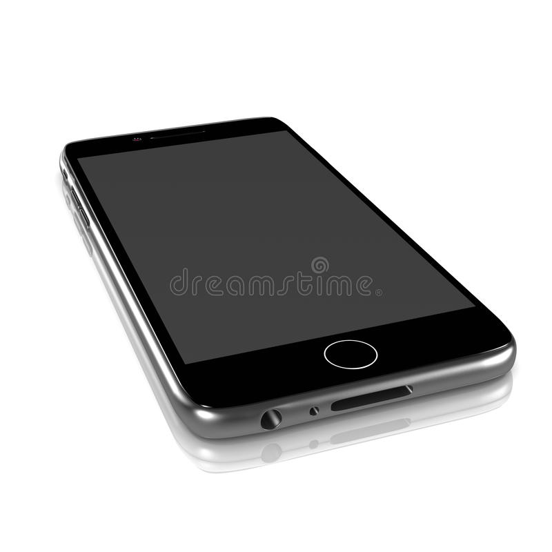 Smartphone. Metallic Smartphone Turned Off with Blank Display on White Background 3D Illustration stock illustration