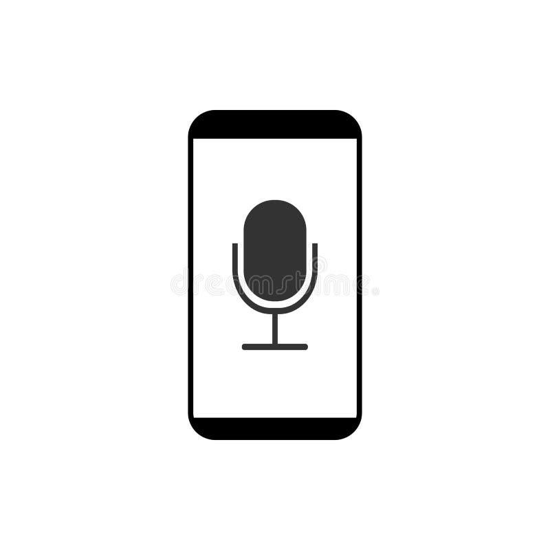 Smartphone, micrófono, icono de la grabadora de voz Ejemplo del vector, diseño plano stock de ilustración