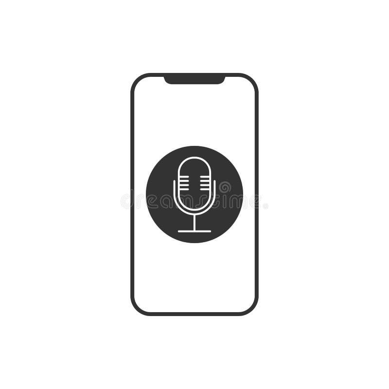 Smartphone, micrófono, icono de la grabadora de voz Ejemplo del vector, diseño plano ilustración del vector