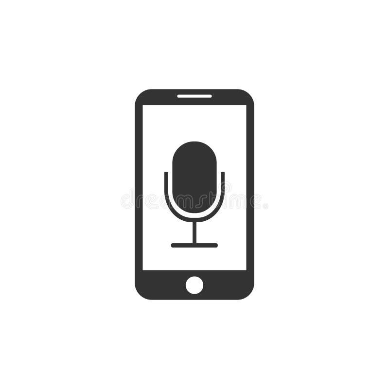 Smartphone, micrófono, icono de la grabadora de voz Ejemplo del vector, diseño plano libre illustration