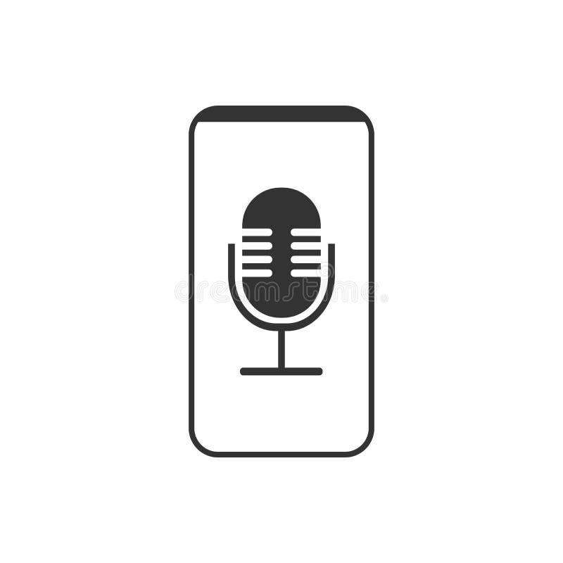 Smartphone, micr?fono, icono de la grabadora de voz Ejemplo del vector, dise?o plano ilustración del vector