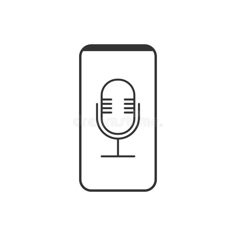 Smartphone, micr?fono, icono de la grabadora de voz Ejemplo del vector, dise?o plano libre illustration