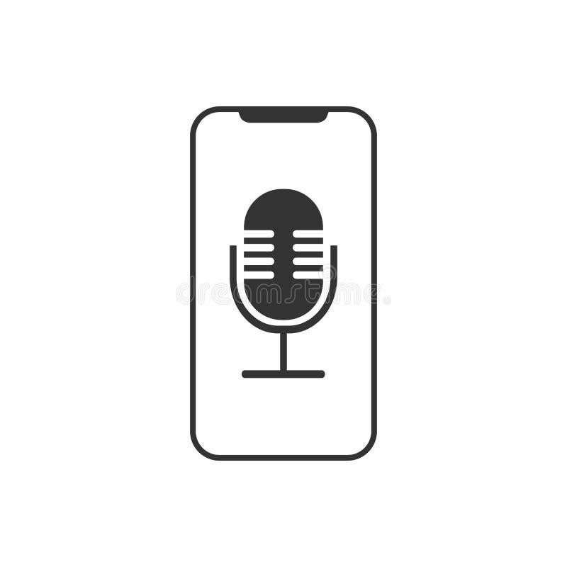 Smartphone, microfone, ícone do gravadora de voz Ilustração do vetor, projeto liso ilustração do vetor