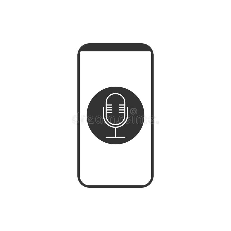 Smartphone, microphone, ic?ne d'enregistreur vocal Illustration de vecteur, conception plate illustration de vecteur