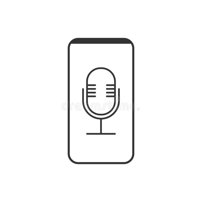 Smartphone, Mikrofon, Sprachaufzeichnungsanlageikone Vektorillustration, flaches Design lizenzfreie abbildung