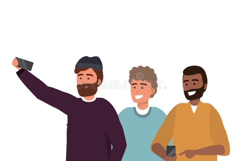Smartphone millenario del gruppo che prende selfie illustrazione vettoriale