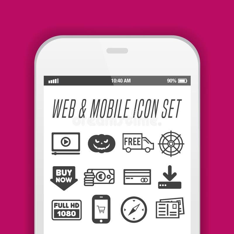 Smartphone mit App-Ikonen - Handy mit Appikonen auf seinem Schirm lizenzfreie abbildung