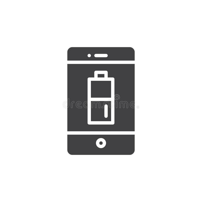 Smartphone mit aufgeladener Batterie auf Anzeigenikonenvektor vektor abbildung