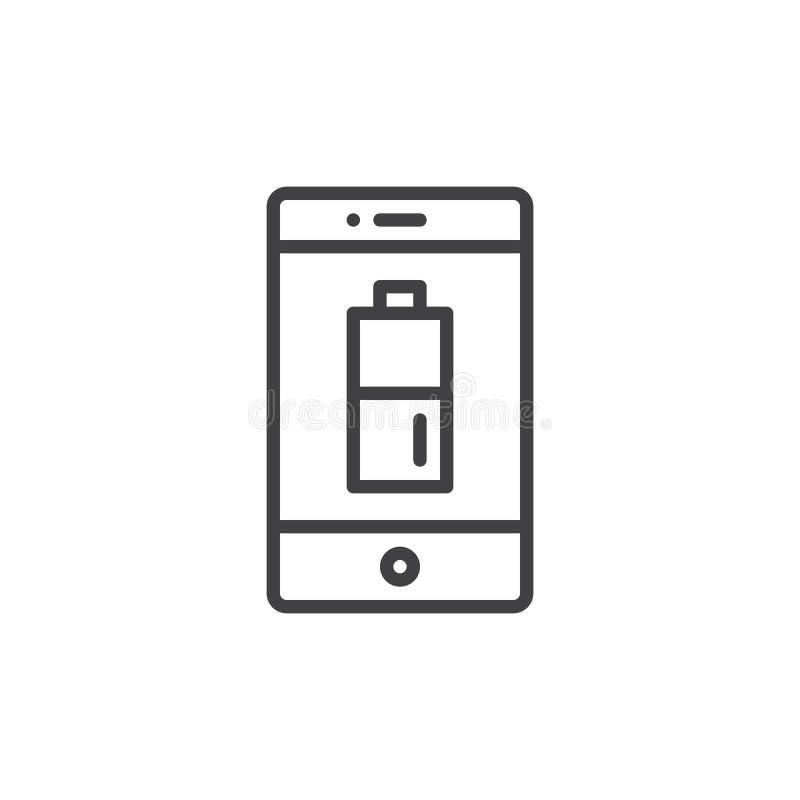 Smartphone mit aufgeladener Batterie auf Bildzeileikone stock abbildung