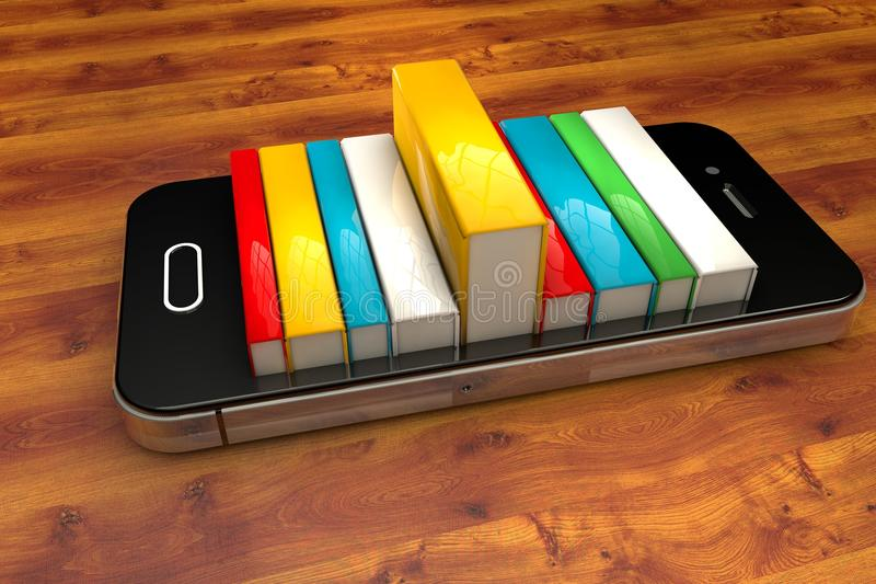 Smartphone mit Büchern vektor abbildung