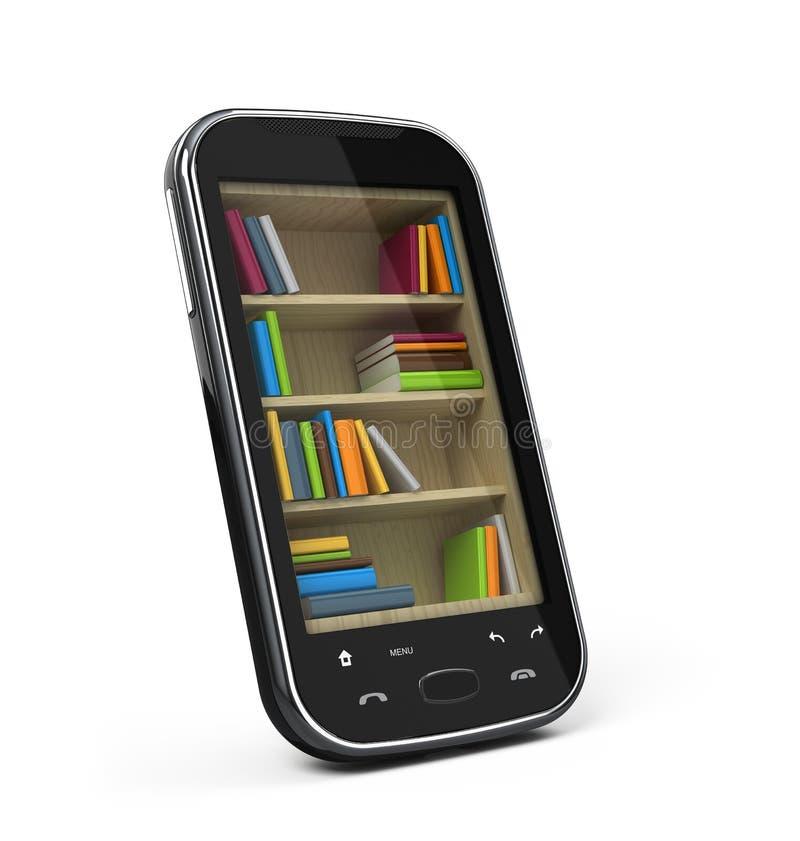 Smartphone mit Bücherregal lizenzfreie abbildung
