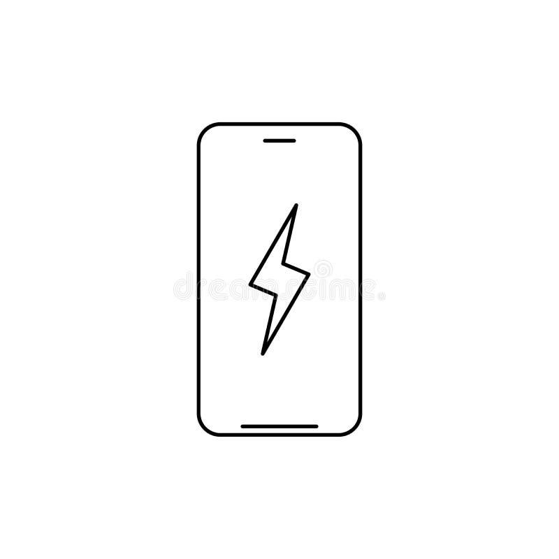 Smartphone mit Blitz Batterie, die lineare Ikone auflädt D?nnes Zeilendarstellung Vektorabbildung getrennt auf wei?em Hintergrund stock abbildung