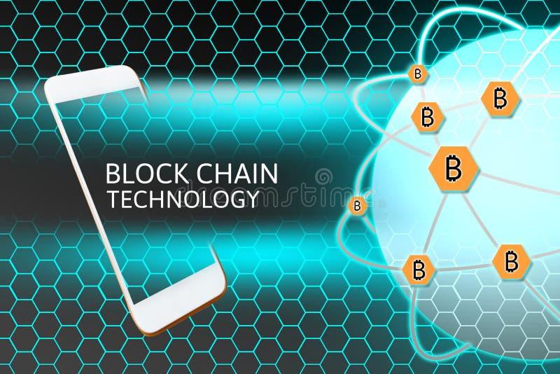 Smartphone mit Blockchain-Konzept Bitcoin-Vernetzungsschutz und -bienenwabe vektor abbildung