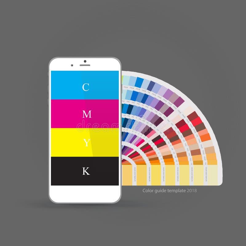 Smartphone mit CMYK-Farbpalettenführer, Konzept für bewegliche apps Auch im corel abgehobenen Betrag lizenzfreie abbildung