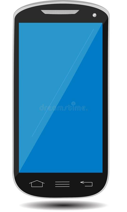 Smartphone mit dem leeren Bildschirm, der auf der Ecke, lokalisiert auf weißem Hintergrund steht stockbilder