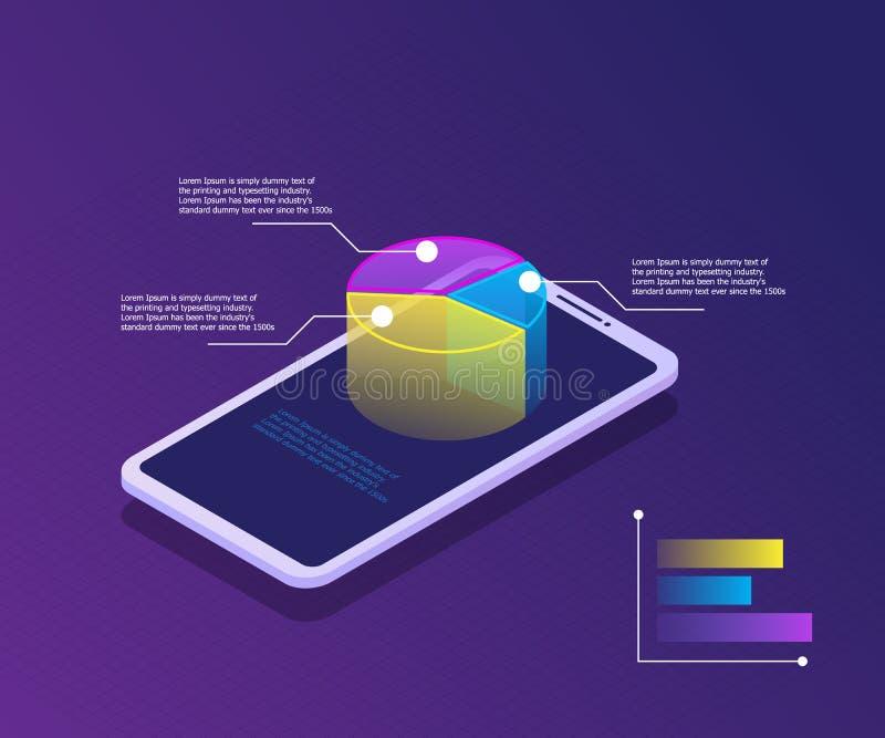 Smartphone mit Diagramm auf Schirm, Geschäft und Marktanalyse lizenzfreie abbildung