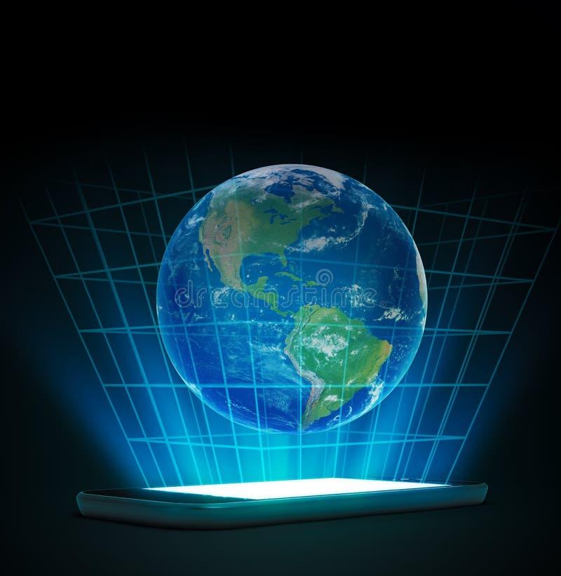 Smartphone mit einem Welthologramm lizenzfreie abbildung