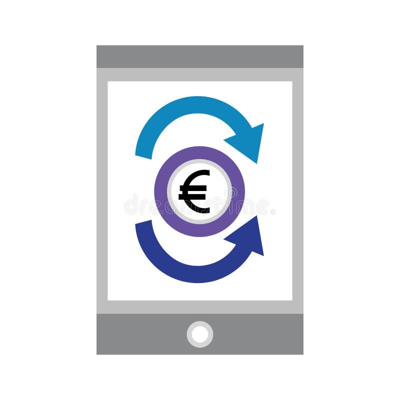 Smartphone mit Eurowirtschaft lizenzfreie abbildung