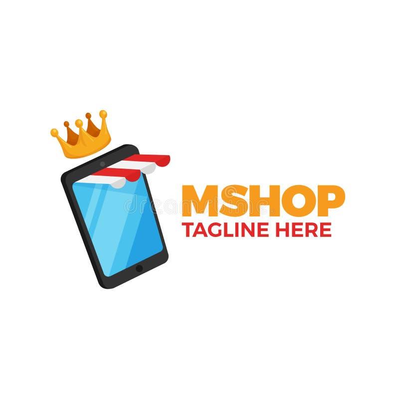 Smartphone mit gestreifter Speichermarkise und -krone für bewegliches Shopkonzeptdesign E-Commerce-Anwendungs-Logoschablone moder stock abbildung