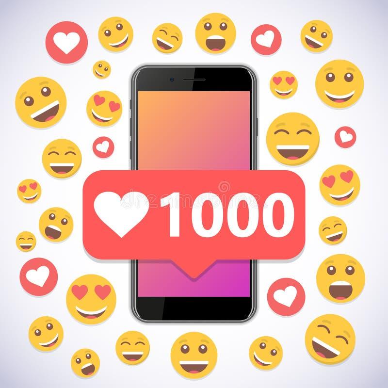 Smartphone mit Gleichen und Lächeln der Mitteilung 1000 für Social Media lizenzfreie abbildung