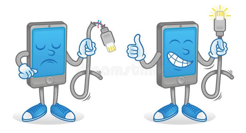 Smartphone mit guter und defekter usb-Schnur stock abbildung