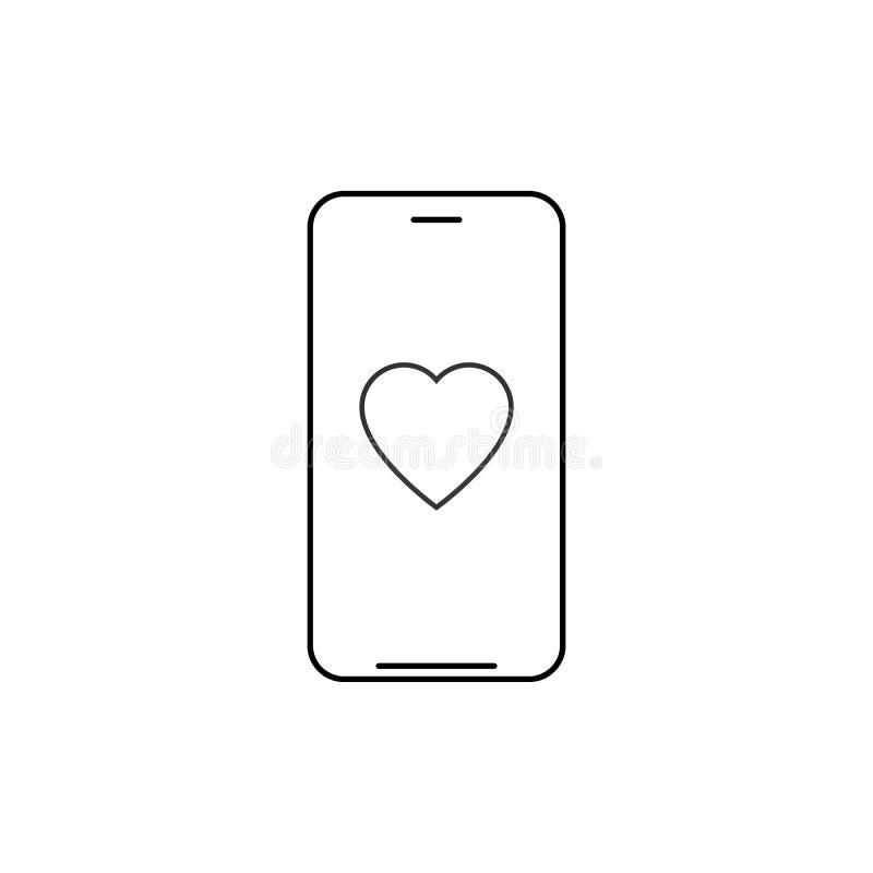 Smartphone mit Herzentwurfsikone lineares Artzeichen f?r bewegliches Konzept und Webdesign N?chstenliebeherztelefonleitungs-Vekto vektor abbildung