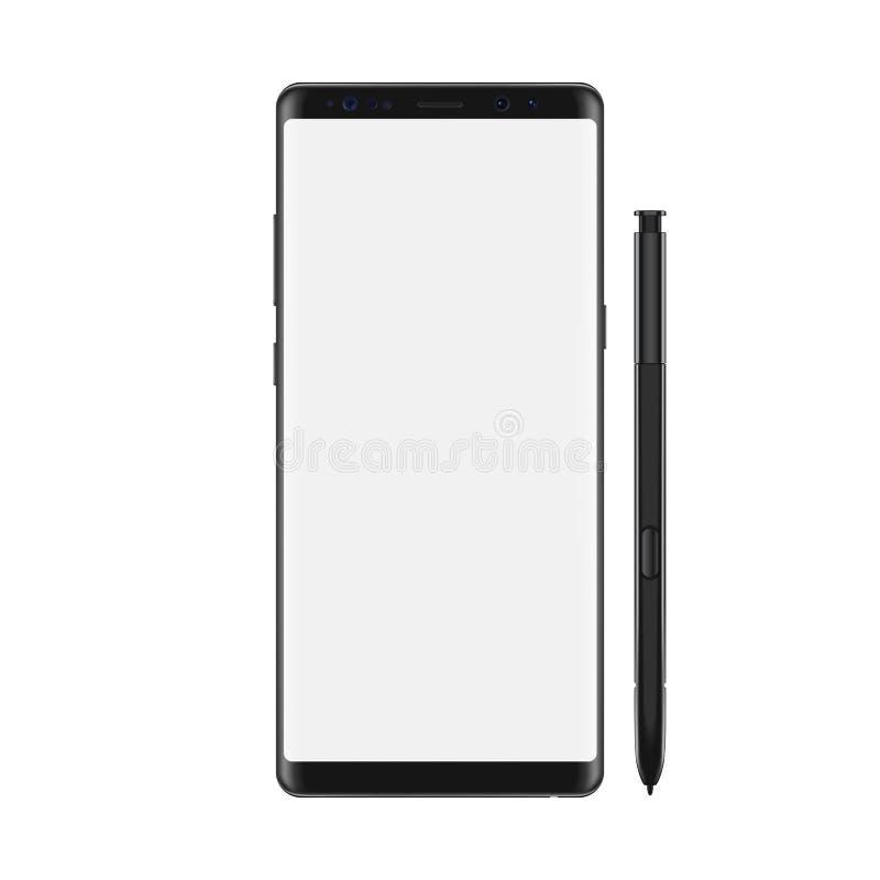 Smartphone mit leerem weißem Schirm Getrennt auf weißem Hintergrund Realistische vektorabbildung vektor abbildung