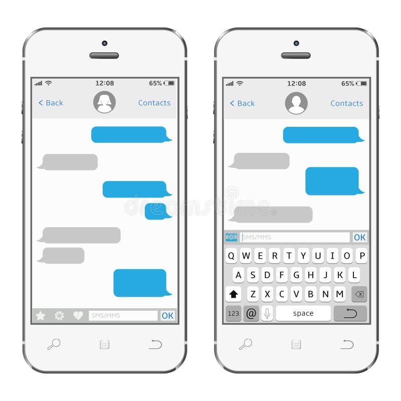 Smartphone mit Mitteilung sms APP lizenzfreie stockfotografie