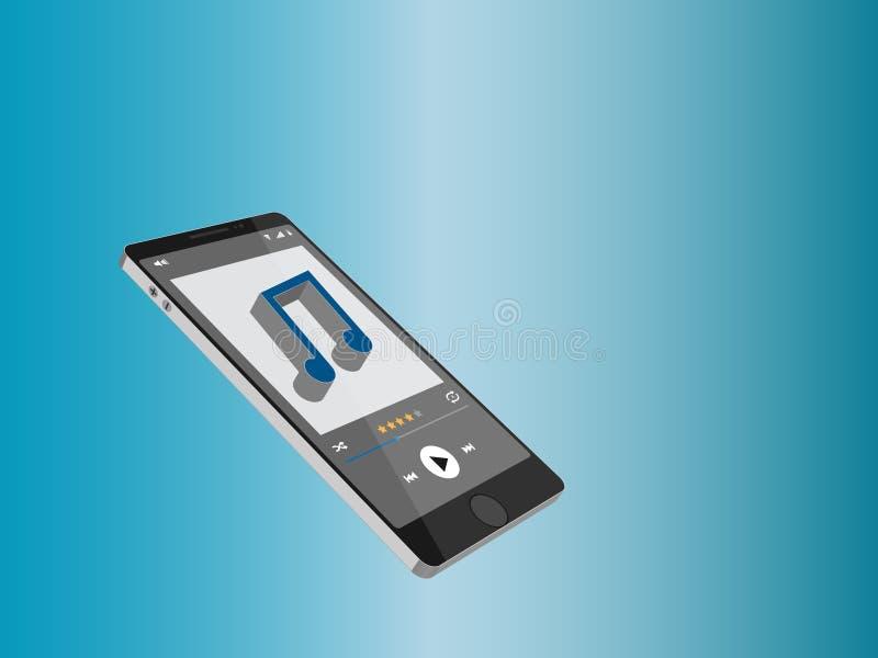 Smartphone mit Musikspieler-Schnittstellenschablone, elegantes Design Saubere und moderne Art stockfotos