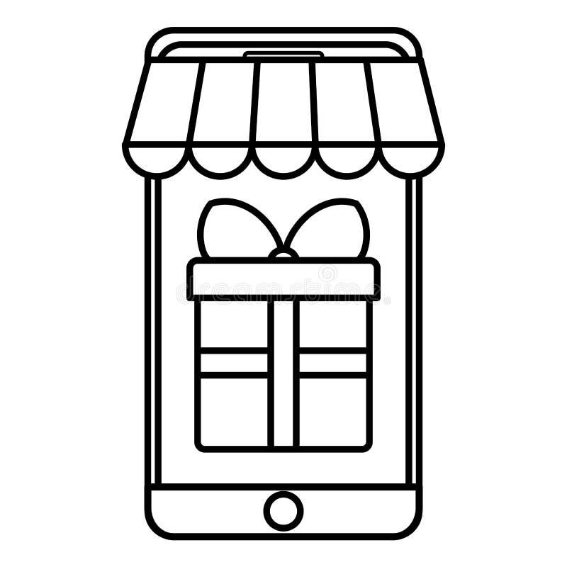 Smartphone mit Sonnenschirm und Geschenk lizenzfreie abbildung