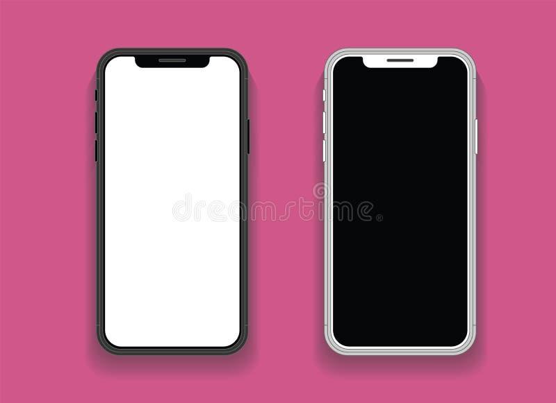 Smartphone mit Spott des leeren Bildschirms oben Smartphone lokalisierte Schirm lizenzfreie abbildung
