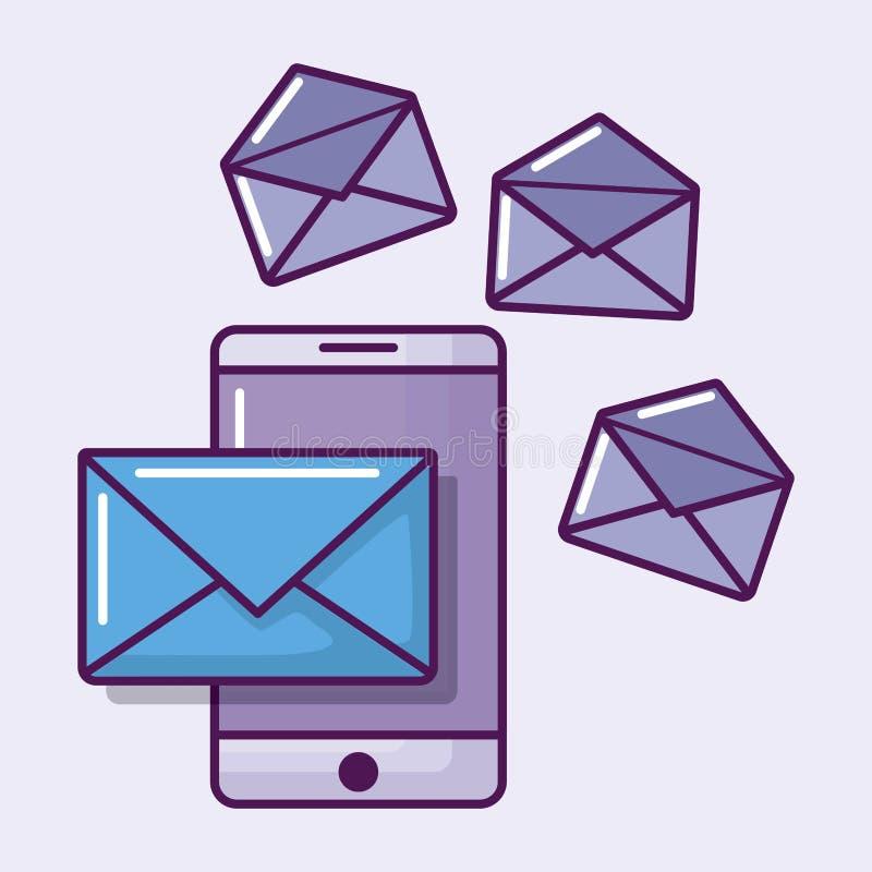 Smartphone mit Umschlagpost stock abbildung