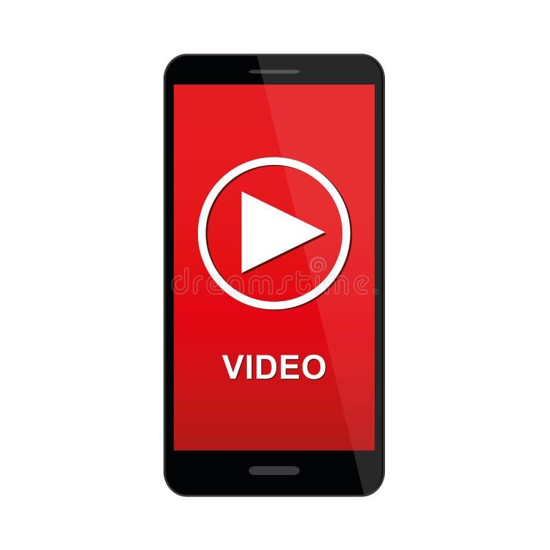 Smartphone mit Video-Player-APP auf Schirm lizenzfreie abbildung