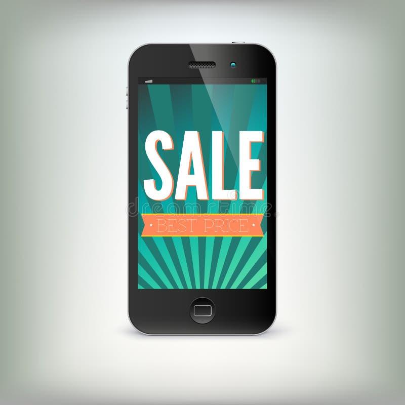 Smartphone mit Wort Verkauf auf Anzeige lizenzfreie abbildung