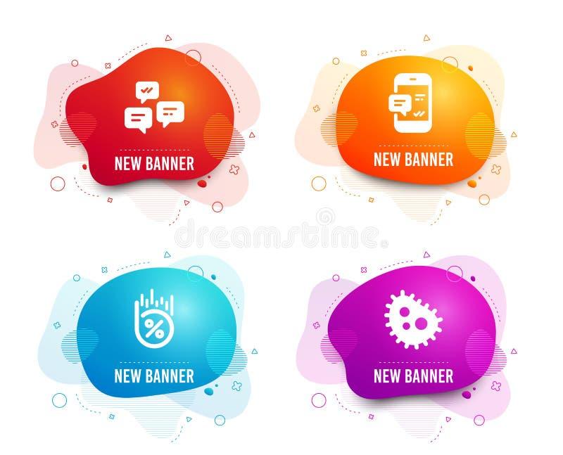 Smartphone-Mitteilung, Schw?tzchenmitteilungen und Darlehensprozentikonen Bakterienzeichen Vektor lizenzfreie abbildung