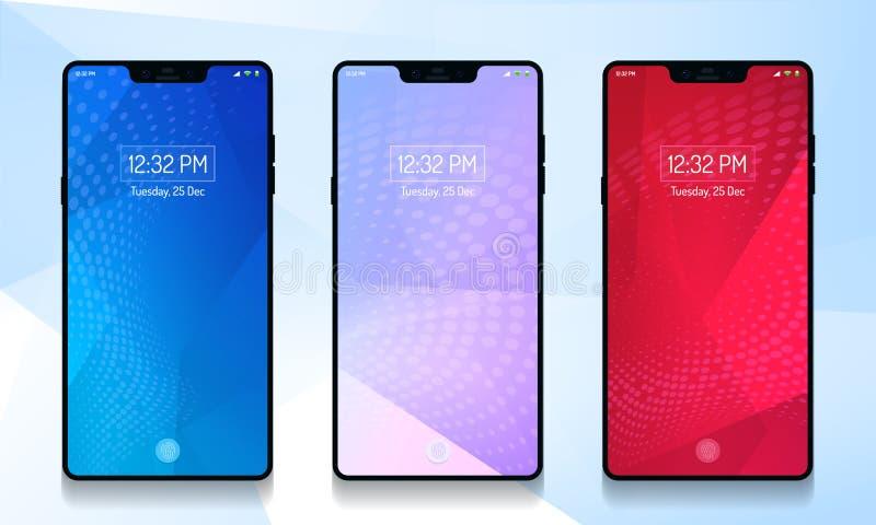 Smartphone, Mobiele achtergrond, mobiel behang, Koninklijke kleur, Rode kleurenbehang, blauw BG vector illustratie