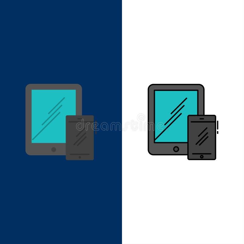 Smartphone, Mobiele Zaken, Tablet, Telefoonpictogrammen Vlak en Lijn vulde Pictogram Vastgestelde Vector Blauwe Achtergrond stock illustratie