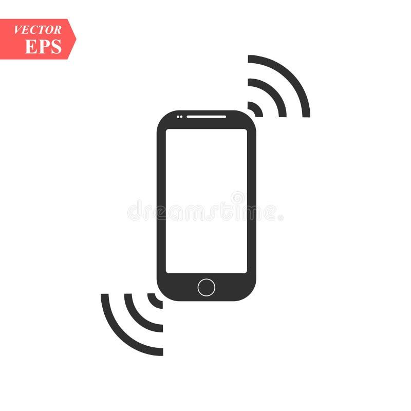 Smartphone mobil enhet som ringer eller vibrerar den plana symbolen för Apps och Websites - som isoleras på genomskinlig bakgrund stock illustrationer