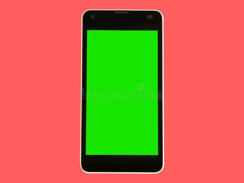 Smartphone mobil vit, grön skärm som isoleras arkivbilder