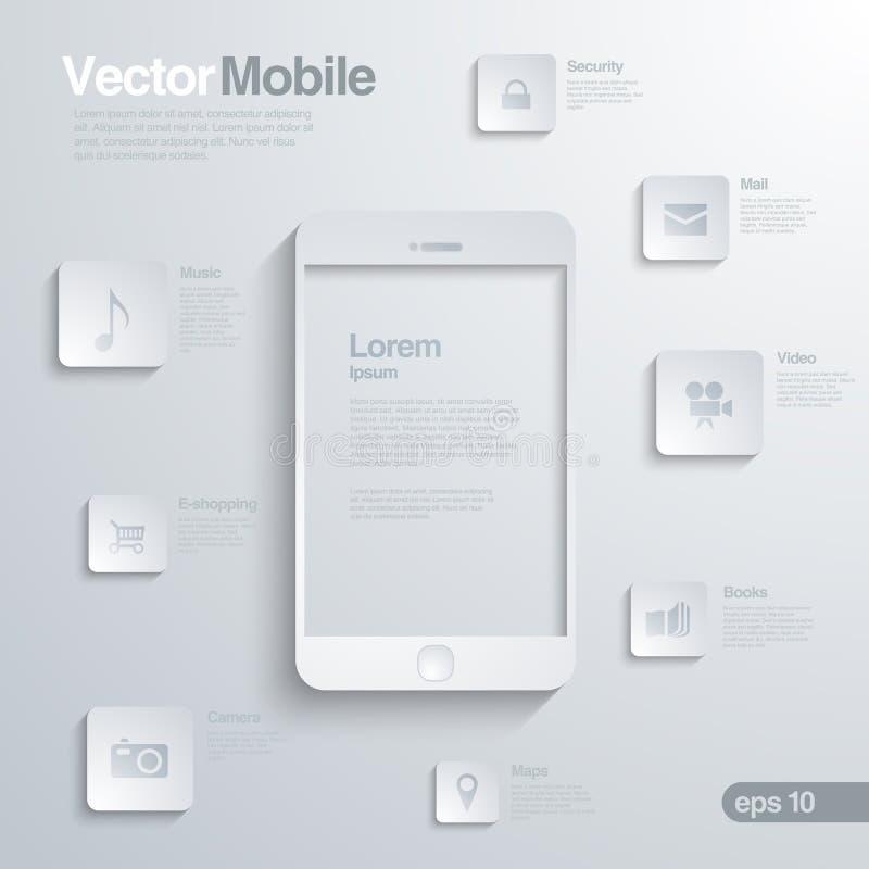 Smartphone mobile avec l'interface d'icône. Infographic illustration de vecteur