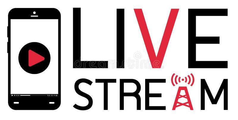 Smartphone mobile broadcast live stream logo vector stock illustration