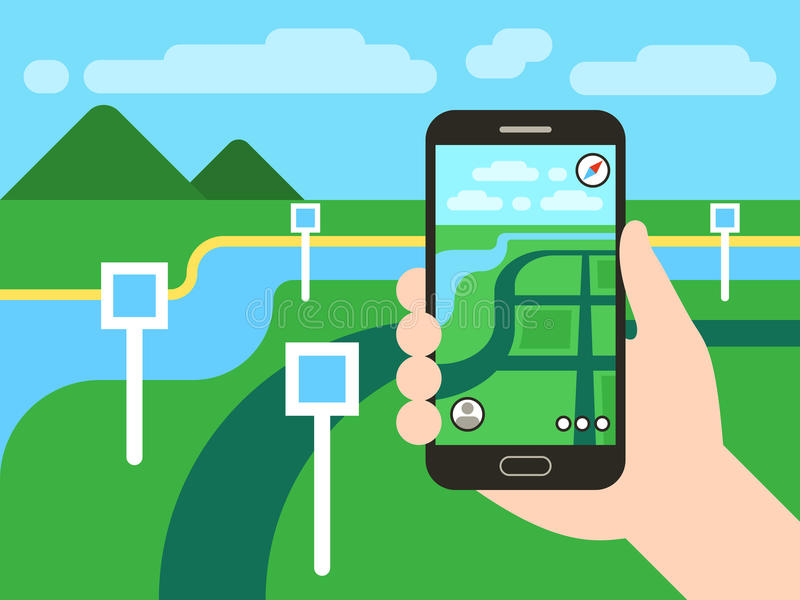Smartphone with mobile gps navigation system and map pins. Vector app game concept. Smartphone with mobile gps navigation system and map with pins. Vector app stock illustration