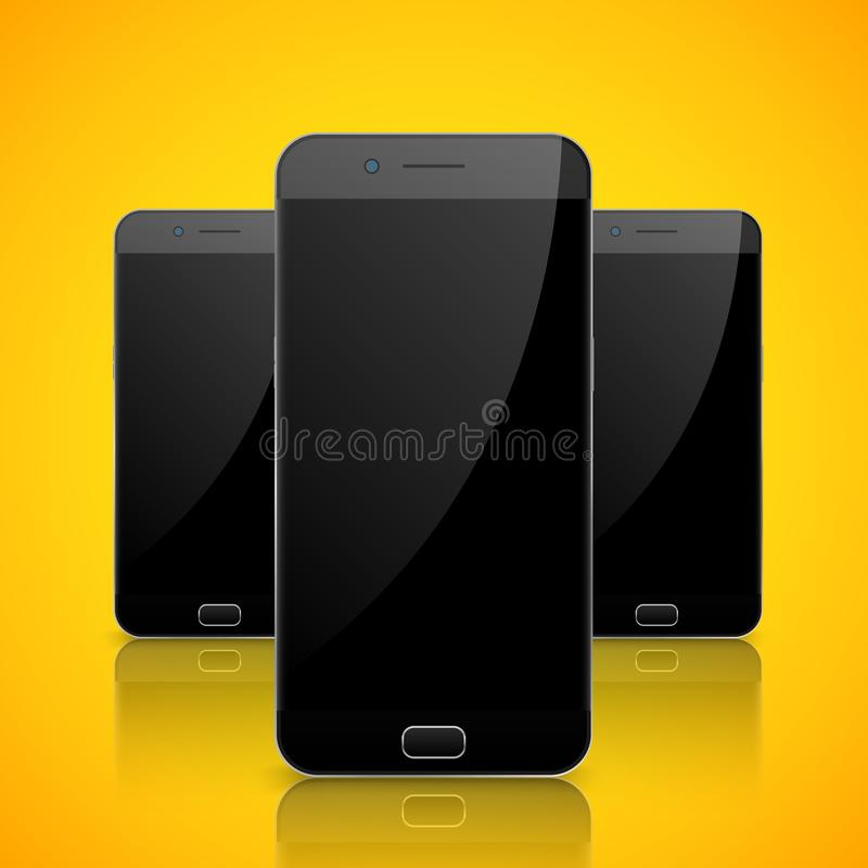 Smartphone, mobile phone isolated. Blank screen mobile vector. Cellphone communication technology royalty free illustration