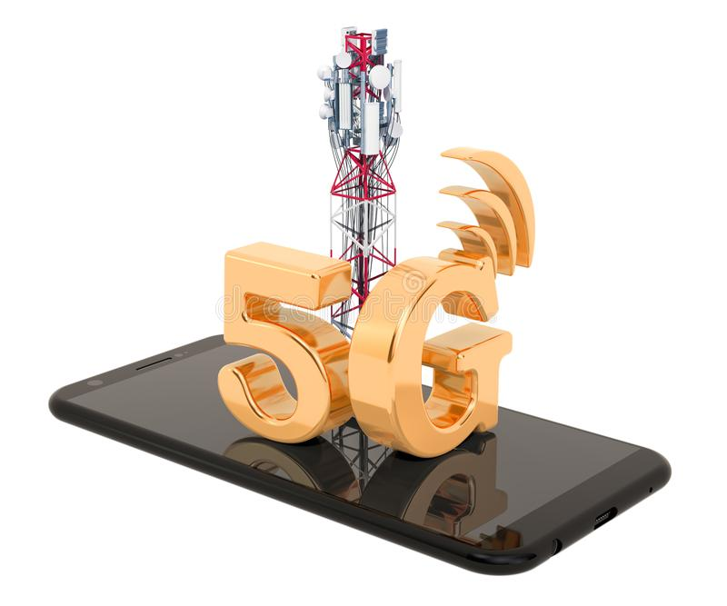 Smartphone with mobile tower, 5G concept. 3D rendering. Isolated on white background royalty free illustration