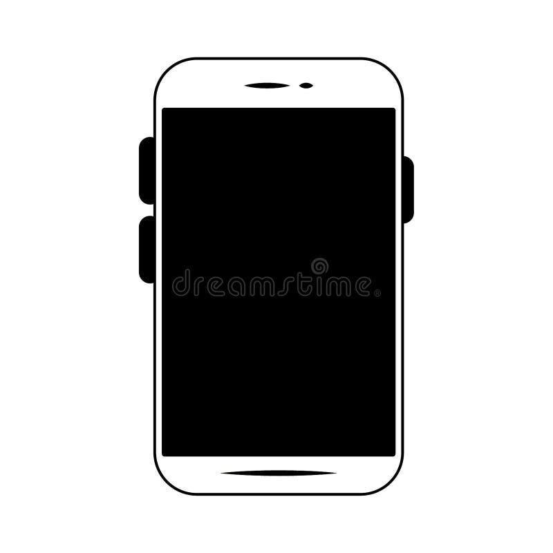 Smartphone mobilnej technologii odosobniony symbol w czarny i biały ilustracji