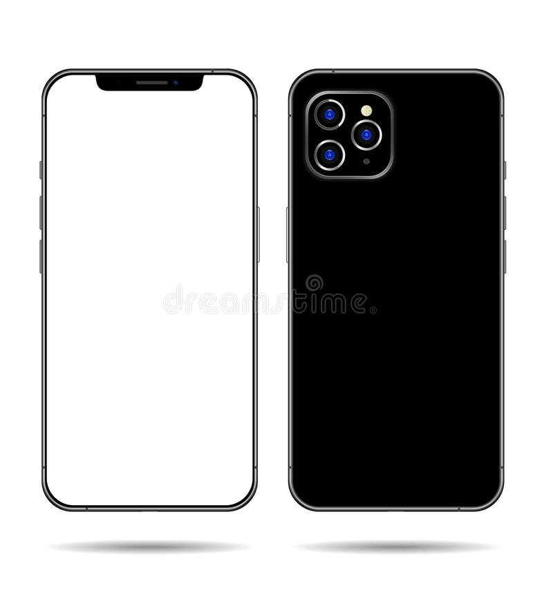 Smartphone mock up frameless blank screen isolated on background. Front and back side royalty free illustration