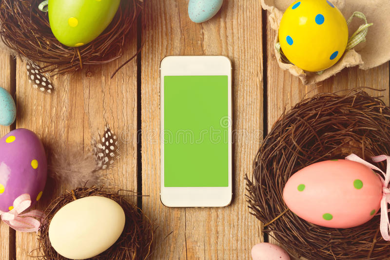 Smartphone mock up template for easter holiday app presentation. Smartphone mock up decoration template for easter holiday app presentation royalty free stock images