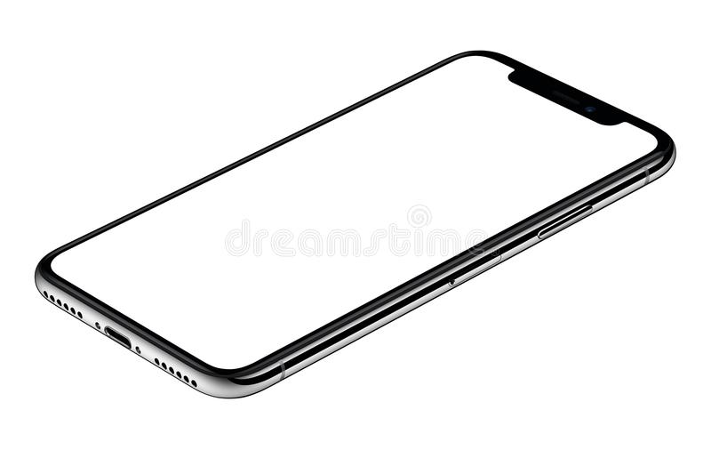 Smartphone mockup similar to iPhone X CW rotated lies on surface isolated on white background stock photography