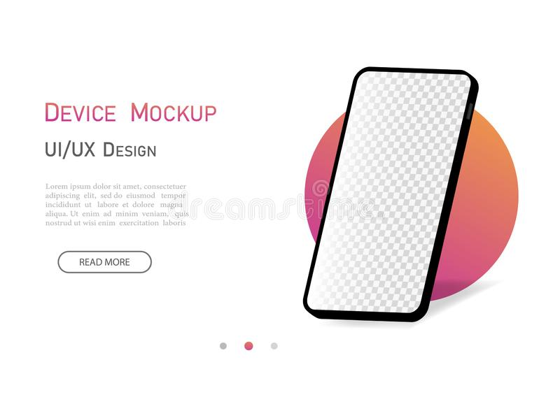 Smartphone mockup 3d isometric with empty screen. Mobile phone with isometric perspective angle. Flat smartphone device for stock illustration