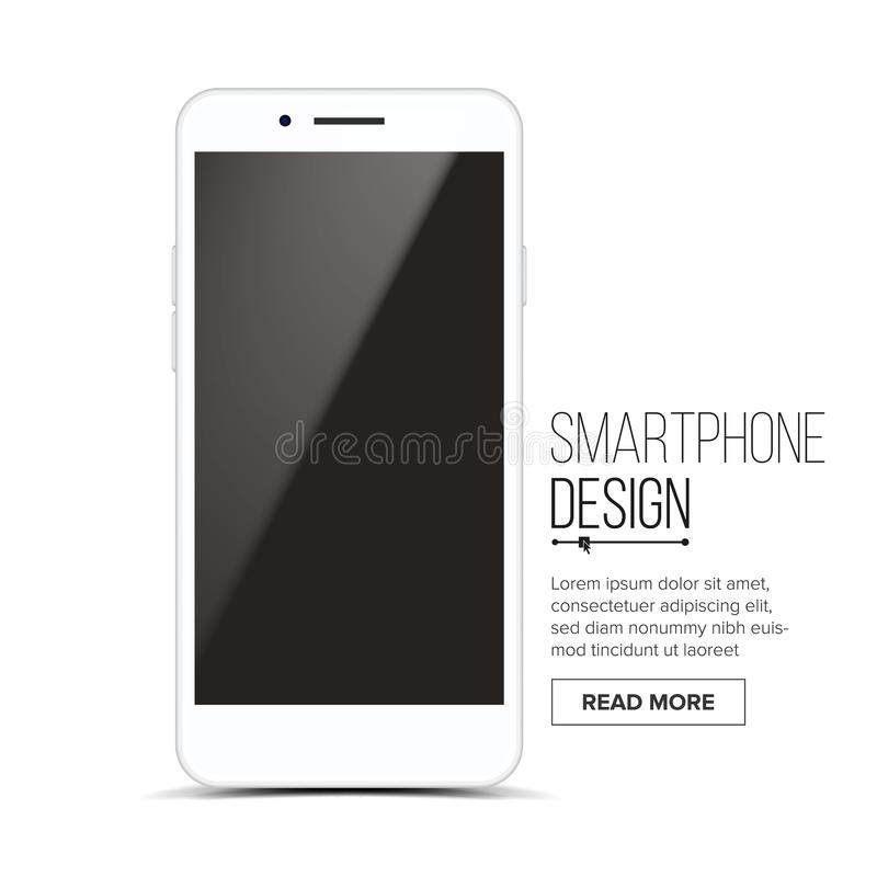 Smartphone Mockup Design Vector. White Modern Trendy Mobile Phone Front View. Isolated On White Background. Realistic 3D.  royalty free illustration